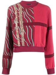 Just Cavalli Contrast Panelled Stripe Sweatshirt Red