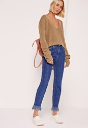 Missguided V Neck Slouchy Crop Jumper Nude Camel