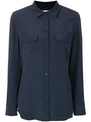 Equipment Button Pocket Shirt Blue
