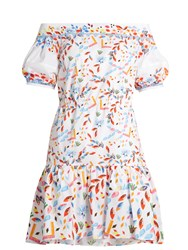 Peter Pilotto Abstract Print Off The Shoulder Cotton Blend Dress White Multi