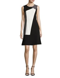 T Tahari Sleeveless Colorblocked Fit And Flare Dress Black White
