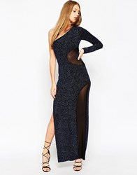 Asos Glitter One Shoulder Mesh Insert Maxi Dress Blue