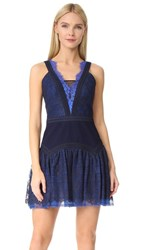 Three Floor Wild Waves Lace Dress Navy Sapphire Blue