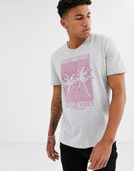 Tom Tailor T Shirt With Printed Tropical Print Grey