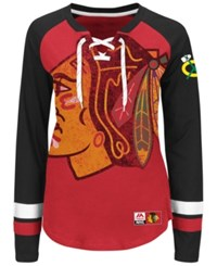 Majestic Women's Chicago Blackhawks Hip Check Long Sleeve T Shirt Red Black