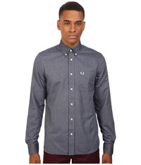 Fred Perry Classic Oxford Shirt Dark Carbon Men's Long Sleeve Button Up Navy