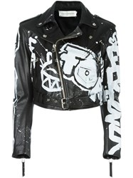 Faith Connexion Graffiti Print Biker Jacket Black