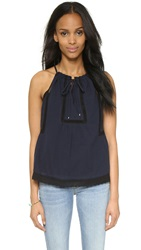 Rebecca Taylor Lace Voile Tank Navy