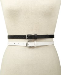 Inc International Concepts 2 For 1 Embossed And Solid Belts Created For Macy's White