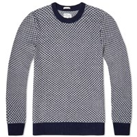 Gant Rugger Arrow Weave Crew Knit Navy And White