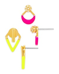 Baublebar Painted Ear Jacket Set Neon Yellow Gold Pink Gold