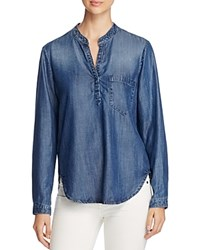 Side Stitch Chambray Pocket Henley Shirt Night Sky Wash