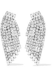 Saint Laurent Silver Plated Crystal Clip Earrings One Size