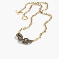 J.Crew Pave Link Chain Pendant Necklace Antique Gold