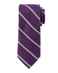 Neiman Marcus Track Striped Silk Tie Purple