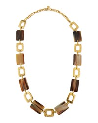 Bustani Light Horn Link Necklace Bronze Ashley Pittman