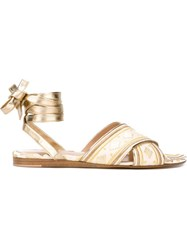 Gianvito Rossi Laced Up Sandals Metallic