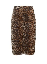 Ganni Ruched Leopard Print Pencil Skirt Leopard