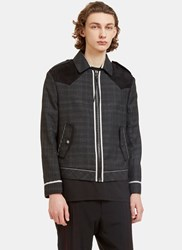 Lanvin Suede Yoke Geometric Creased Jacket Grey