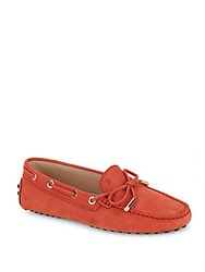 Tod's Textured Leather Loafers Orange