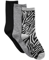Charter Club Women's 3 Pk. Zebra Socks Only At Macy's Grey