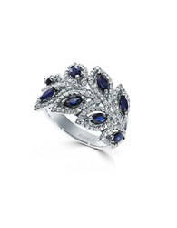 Effy 14K White Gold Sapphire And Diamond Ring Blue
