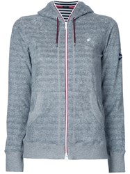Loveless Striped Zip Hoodie Women Cotton Polyester 34 Grey