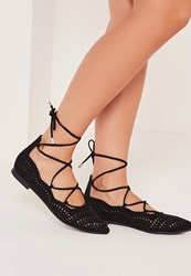 Missguided Laser Cut Flat Shoes Black