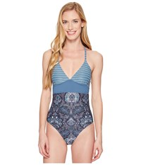 Carve Designs Dahlia One Piece Water Stripe Indigo Indigo Paisley Women's Swimsuits One Piece Blue