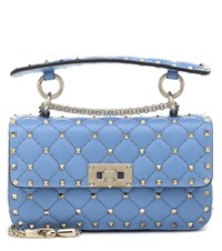 Valentino Garavani Rockstud Spike Small Leather Shoulder Bag Blue