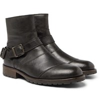 Belstaff Trialmaster Distressed Leather Boots Black