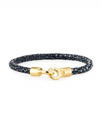Brace Humanity Men's Stingray Shagreen Bracelet Black Golden