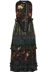 Givenchy Floral Print Sleeveless Boiled Wool Blend And Sheer Chiffon Dress