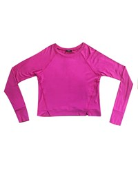 Terez Long Sleeve Top W Front Slashes Pink