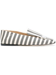 Sergio Rossi Striped Logo Plaque Slippers Canvas Leather Black