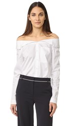 Tibi Notched Off Shoulder Button Down White