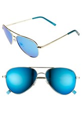 Women's Polaroid Eyewear 56Mm Polarized Aviator Sunglasses Gold Blue Mirror Polarized