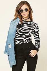 Forever 21 Zebra Crew Neck Sweater