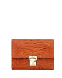 Valentino Small Embossed Leather Tri Fold Wallet Light Brown
