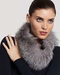 Surell Fox Fur Collar Headband Silver