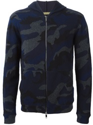Valentino Camouflage Knit Hoodie Blue