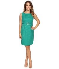 Tahari By Arthur S. Levine Petite Jacquard With Gold Hardware Emerald Women's Dress Green