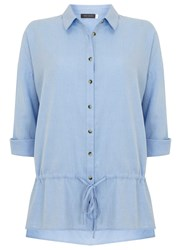 Mint Velvet Bluebell Drawstring Detail Shirt Blue