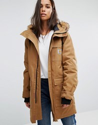 Carhartt Wip Oversized Siberian Parka Jacket With Removable Fur Hood Brown