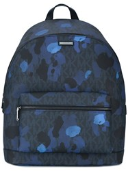Michael Kors Paint Splash Backpack Men Cotton Polyester Canvas One Size Blue