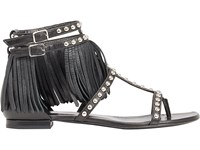 Saint Laurent Women's Studded Fringe Cyuko Sandals Black