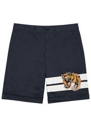 Gucci Navy Tiger Embroidered Cotton Shorts