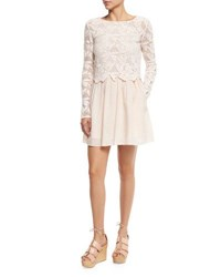 See By Chloe Floral Mesh And Poplin Dress Powder