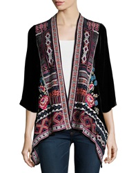 Johnny Was Izzy Embroidered Velvet Cardigan Women's