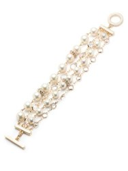 Anne Klein Faux Pearl And Crystal Bracelet Gold